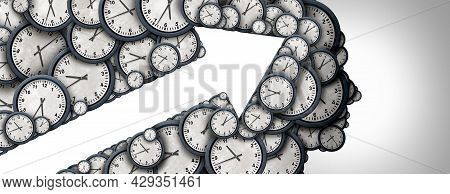 Managing Time Strategy Arrow Concept And Schedule Thinking As A Group Of Clock Objects Shaped As A H