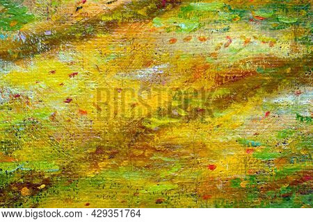 Abstract Paint Texture On Canvas For Design And Background. Oil Paint On Canvas