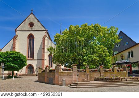 Mosbach, Germany - June 2021: Church Called 'mosbach Abbey' Or 'stiftskirche St. Juliana' At Town Sq