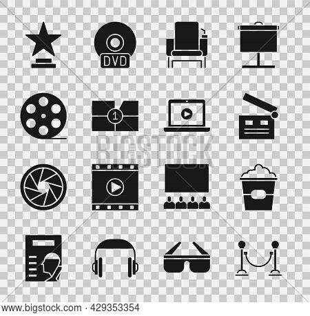 Set Rope Barrier, Popcorn In Box, Movie Clapper, Cinema Chair, Old Film Movie Countdown Frame, Film