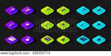 Set House Intercom System, Open Padlock, Old Key, Key Broke Inside Of, Bunch Keys And Wrong Icon. Ve