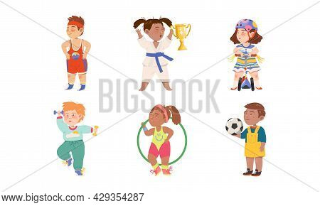 Cute Kids Athlete Riding Scooter, Playing Football And Doing Karate Vector Illustration Set