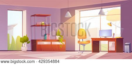 Home Office With Desk, Monitor, Chair And Bookcase. Vector Cartoon Interior Of Room In House With Wo