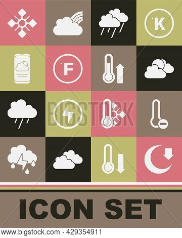 Set Moon, Meteorology Thermometer, Sun And Cloud Weather, Cloud With Rain, Fahrenheit, Weather Forec