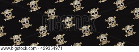 Banner With Halloween Pattern. Golden Skull With Rhinestones On Black Background. Happy Hallowen Hol