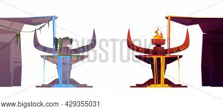 Ancient Stone Altar With Devil Horns For Sacrifice And Worship. Vector Cartoon Set Of Tribal Totem,