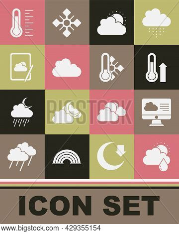 Set Cloud With Rain And Sun, Weather Forecast, Meteorology Thermometer, Sun Cloud Weather, And Icon.