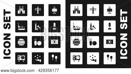 Set Magic Ball On Table, Striker Attraction With Hammer, Bumper Car, Castle, Tree, Road Traffic Sign