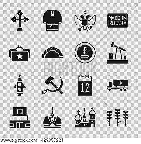 Set Wheat, Tanker Truck, Oil Pump Or Pump Jack, National Emblem Of Russia, Dumpling, Ushanka, Christ