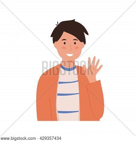 Little Smiling School Boy Waving Hand. Happy Kid In Greeting Gesture Saying Hello Or Goodbye. Portra