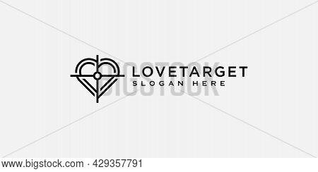 Love Target Logo Design Vector Template Line Style
