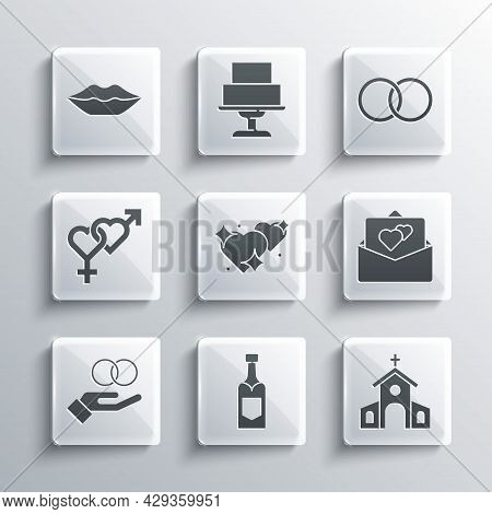 Set Champagne Bottle, Church Building, Greeting Card, Two Linked Hearts, Wedding Rings, Gender, Smil
