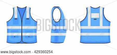 Safety Reflective Vest Icon Sign Flat Style Design Vector Illustration Set. Light Blue Fluorescent S