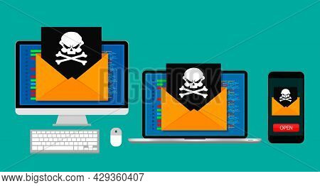 Vector Illustration Concept Of Virus And Hacking. Set With Computer, Laptop And Smartphone. Flat Des