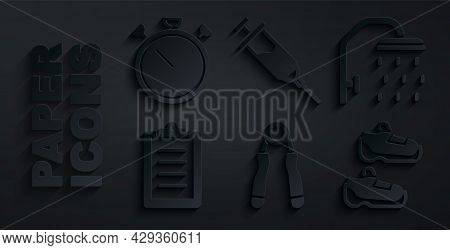 Set Sport Expander, Shower Head, Training Program, Sneakers, Doping Syringe And Stopwatch Icon. Vect