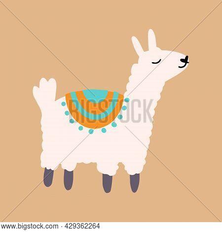 Vector Cute Lama In Cartoon Hand Drawn Childish Style. Funny Animal Character For Nursery, Baby Appa