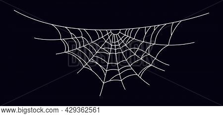 Scary Spider Web. White Cobweb Silhouette Isolated On Black Background. Hand Drawn Spider Web For Ha