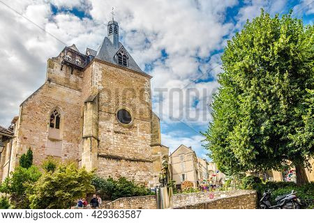 Bergerac, France - June 24,2021 - View At The Church Of Saint Jacques With Newest Statue Of Cyrano I