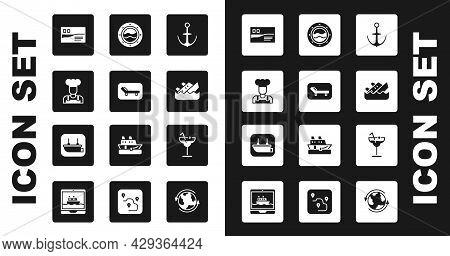 Set Anchor, Sunbed And Umbrella, Cook, Postcard Travel, Sinking Cruise Ship, Ship Porthole With Seas