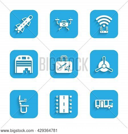 Set Suitcase, Airport Runway, Bus, Plane Propeller, Airplane Seat, Aircraft Hangar, Router And Wi-fi