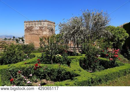 Granada, Spain - May 20, 2017: This Is One Of The Many Gardens In The Alhambra Palace And Park Ensem