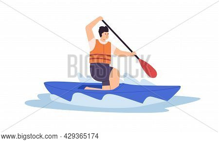 Man Riding Solo Canoe In Water, Rowing With Paddle. Person Oaring And Swimming On Sport Boat In Rive