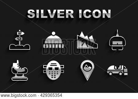 Set Hockey Mask, Ski Lift, Ice Resurfacer, Location With Mountain, Skates, Mountain Descent, Road Tr