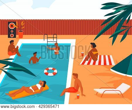People Have Fun And Enjoy At Swimming Pool