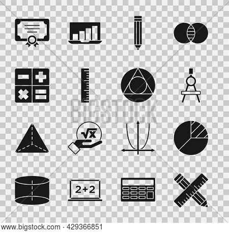 Set Crossed Ruler And Pencil, Pie Chart Infographic, Drawing Compass, Pencil, Ruler, Calculator, Cer