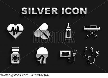 Set Sore Throat, Stretcher, Stethoscope, Ultrasound, Medicine Bottle And Pills, Ointment Cream Tube