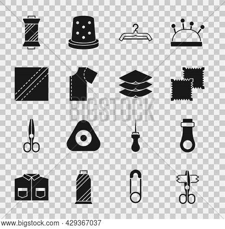 Set Scissors, Zipper, Textile Fabric Roll, Hanger Wardrobe, Sewing Pattern, Thread On Spool And Laye