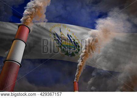 Pollution Fight In El Salvador Concept - Industrial 3d Illustration Of Two Big Industry Chimneys Wit