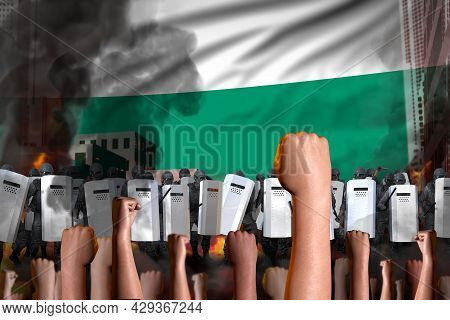 Protest In Bulgaria - Police Swat Stand Against The Protestors Crowd On Flag Background, Demonstrati