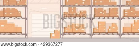 Warehouse Interior With Carton Boxes On Metal Shelves. Empty Storehouse Panoramic Background For Goo