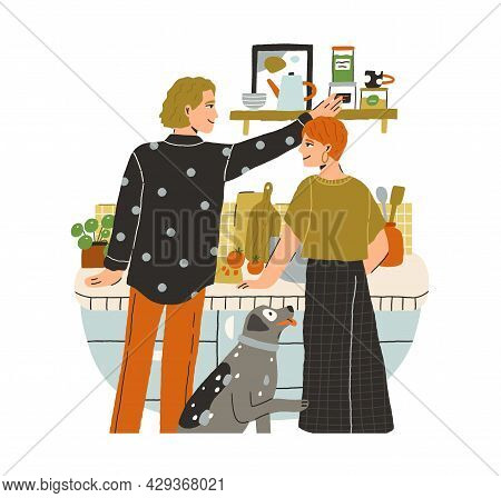Happy Love Couple Of Young Man And Woman Cooking Together At Home Kitchen. Family Preparing Food For
