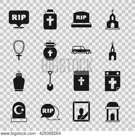 Set Old Crypt, Calendar Death, Church Building, Tombstone With Rip Written, Funeral Urn, Christian C