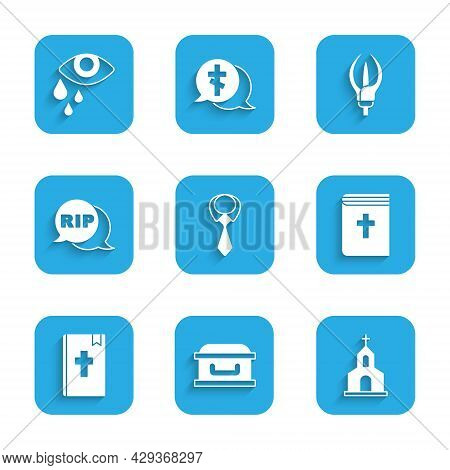 Set Tie, Coffin With Cross, Church Building, Holy Bible Book, Speech Bubble Rip Death, Lily Flower A