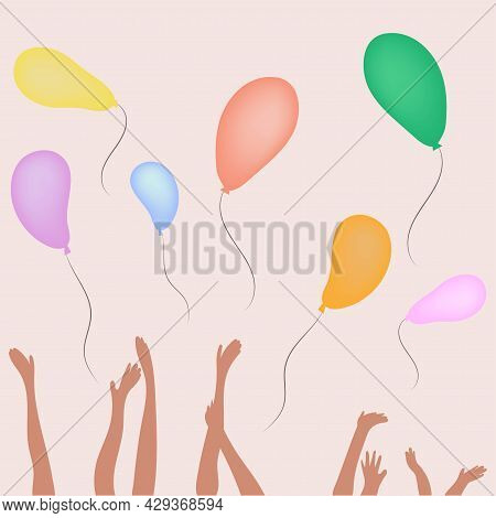 Childrens Hands Release Colored Balloons. Holiday, Pajama Party.