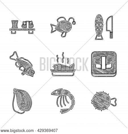 Set Served Fish On A Plate, Shrimp, Fish Hedgehog, Sushi Cutting Board, Mussel, With Sliced Pieces A
