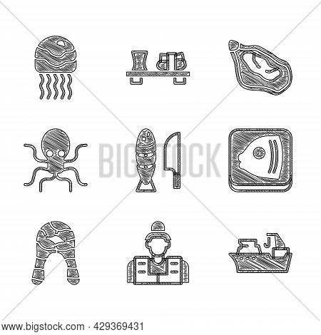 Set Fish With Sliced Pieces, Fisherman, Fishing Boat, Head, Steak, Octopus, Mussel And Jellyfish Ico