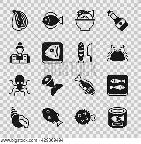 Set Canned Fish, Crab, Served On Bowl, Fish Head, Fisherman, Mussel And With Sliced Pieces Icon. Vec