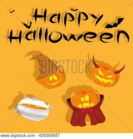 Vector Illustration Of Pumpkin Use Halloween Costume. Mummy And Vampire Costume. Pumpkin Use Witch H