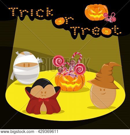 Vector Illustration Of Egg Character Use Halloween Costume. Trick Or Treat Candy And Pumpkin Bucket.
