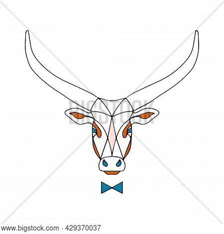 Vector Bull. Illustration Of A Buffalo With Long Horns. Sketch Of A Hoofed Animal Tattoo. Stylish Ho