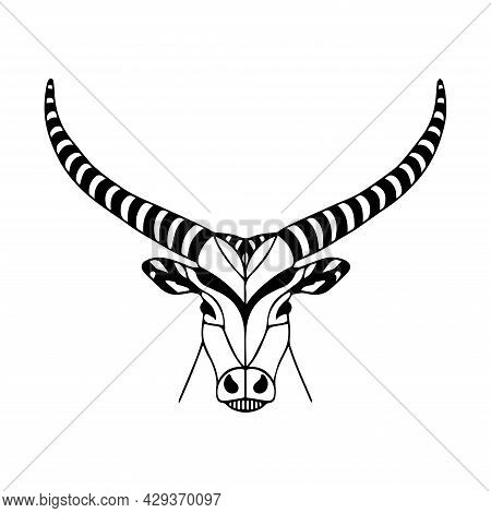 Vector Illustration Of A Bull. Bull Logo In Graphic Style. Silhouette Of A Horned Animal. Tattoo Ske