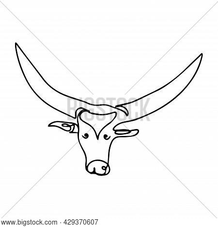 Bull In One Line. Vector Illustration Of A Bull's Head. Domestic Cattle, Bull Head Logo. Sketch Of A