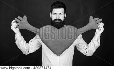 Make Him Feel Loved Every Day. Man Bearded Hipster Hug Heart. Celebrate Valentines Day. Guy With Bea