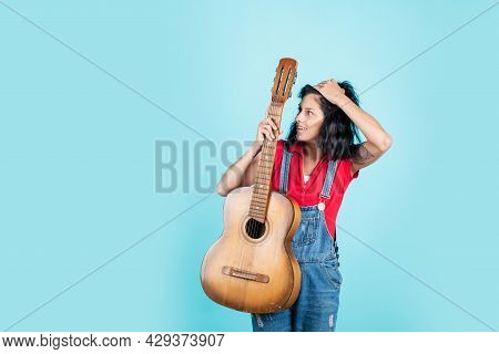 Singer With Acoustic Guitar. Music And Art. Musical Shop. Happy Girl Enjoy The Moment. Have Fun On C