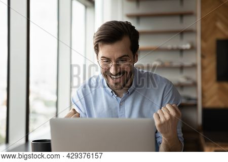Happy Excited Laptop User Getting Amazing Good News