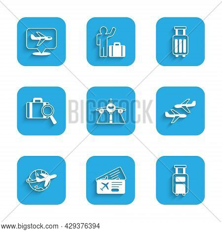 Set Plane, Airline Ticket, Suitcase, Globe With Flying Plane, Lost Baggage, And Icon. Vector